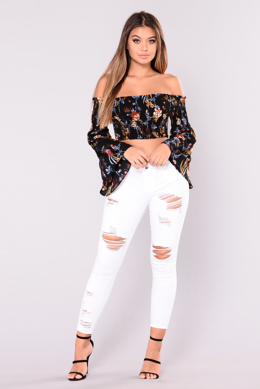 So Humble Bell Sleeve Crop Top - Black/Floral