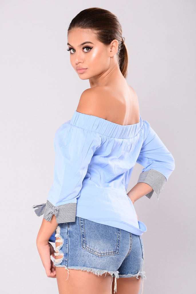 Mary Kate Lace Up Top - Blue