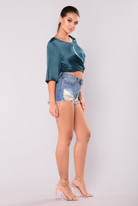 Loose Ends Wrap Top - Teal