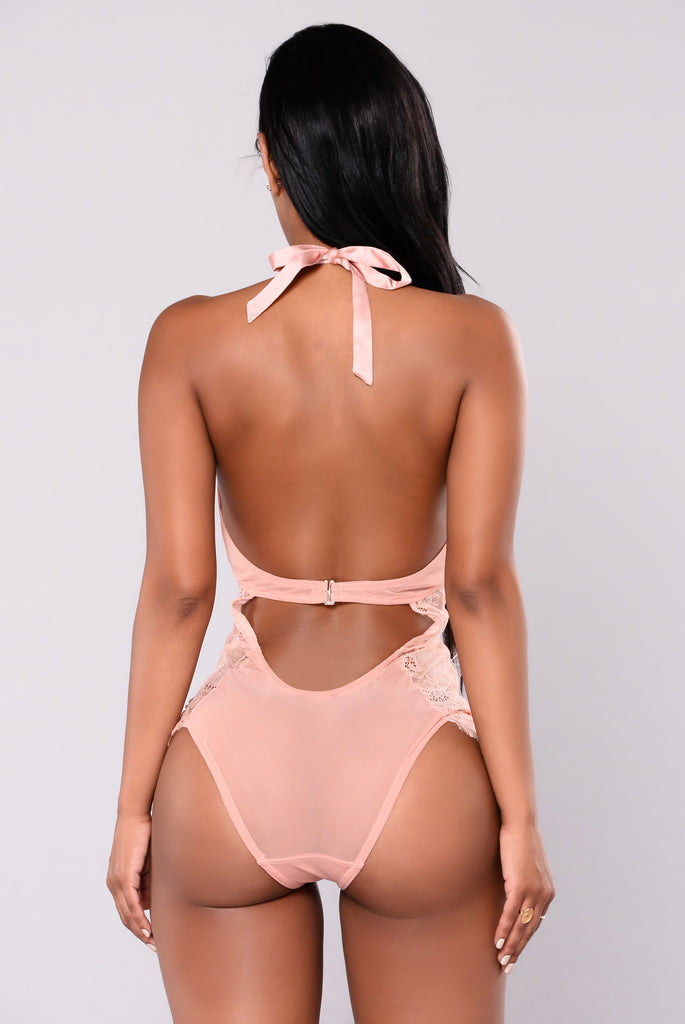 Lashes Out Lace Teddy - Dusty Pink