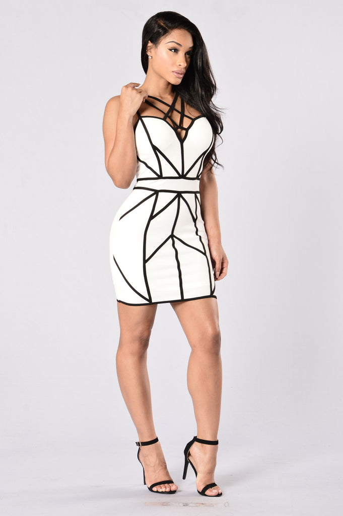 Caught in My Web Dress - White/Black