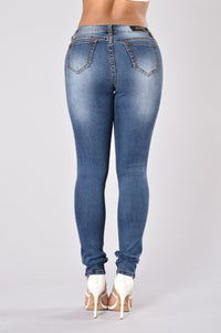 Torn Up Heart Jeans - Dark Blue