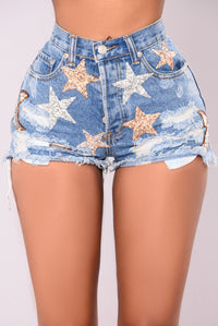Phoenix Distressed Denim Shorts - Light Blue