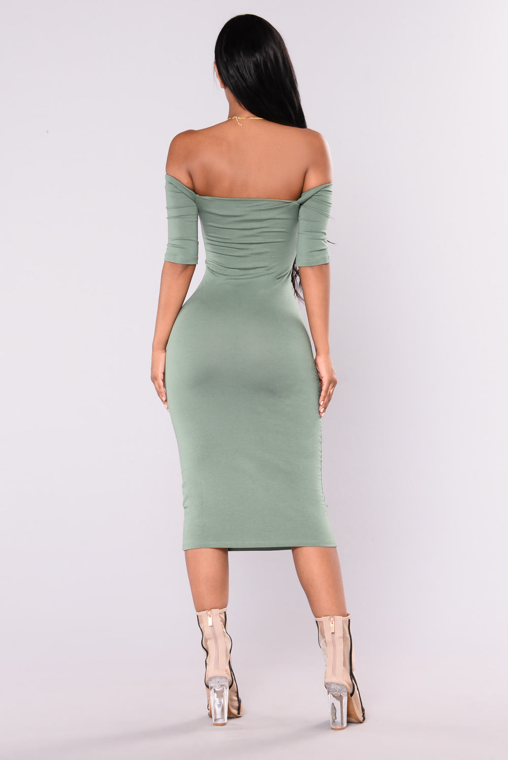 Saira Off Shoulder Dress - Sage