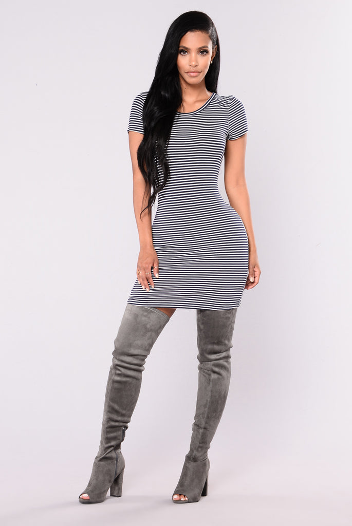 Boat Trip Striped Tunic - Navy/White