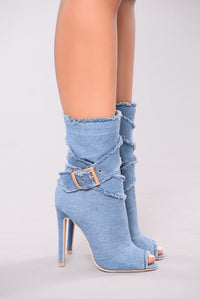 Fierce Peep Toe Bootie - Light Blue