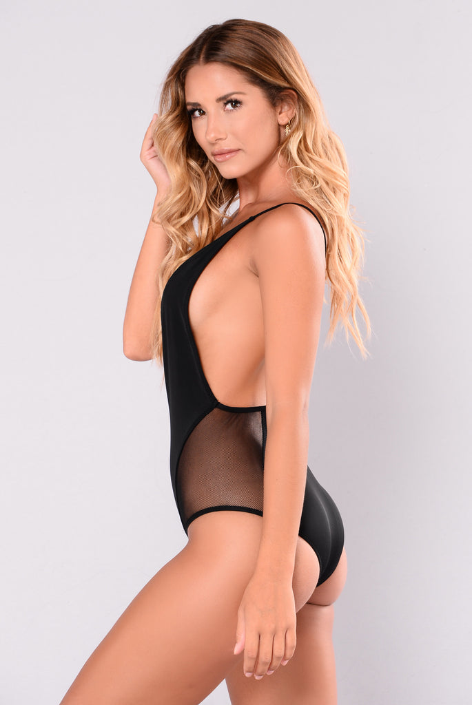 Drink Like A Fishnet Swimsuit - Black