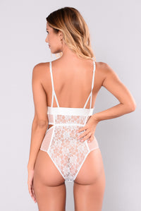Overdosed On Confidence Lace Teddy - White