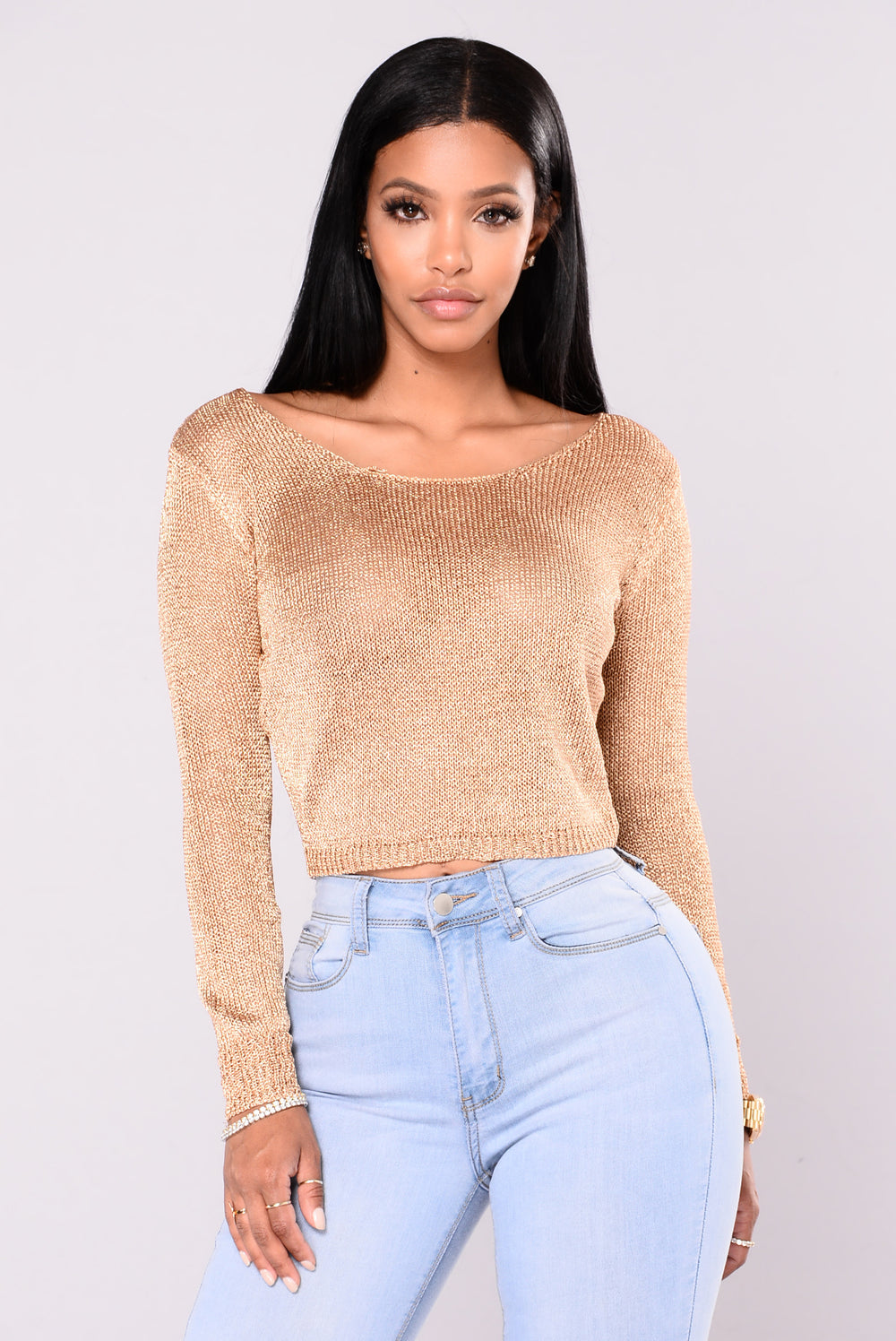 Portia Metallic Crop Sweater - Rose Gold