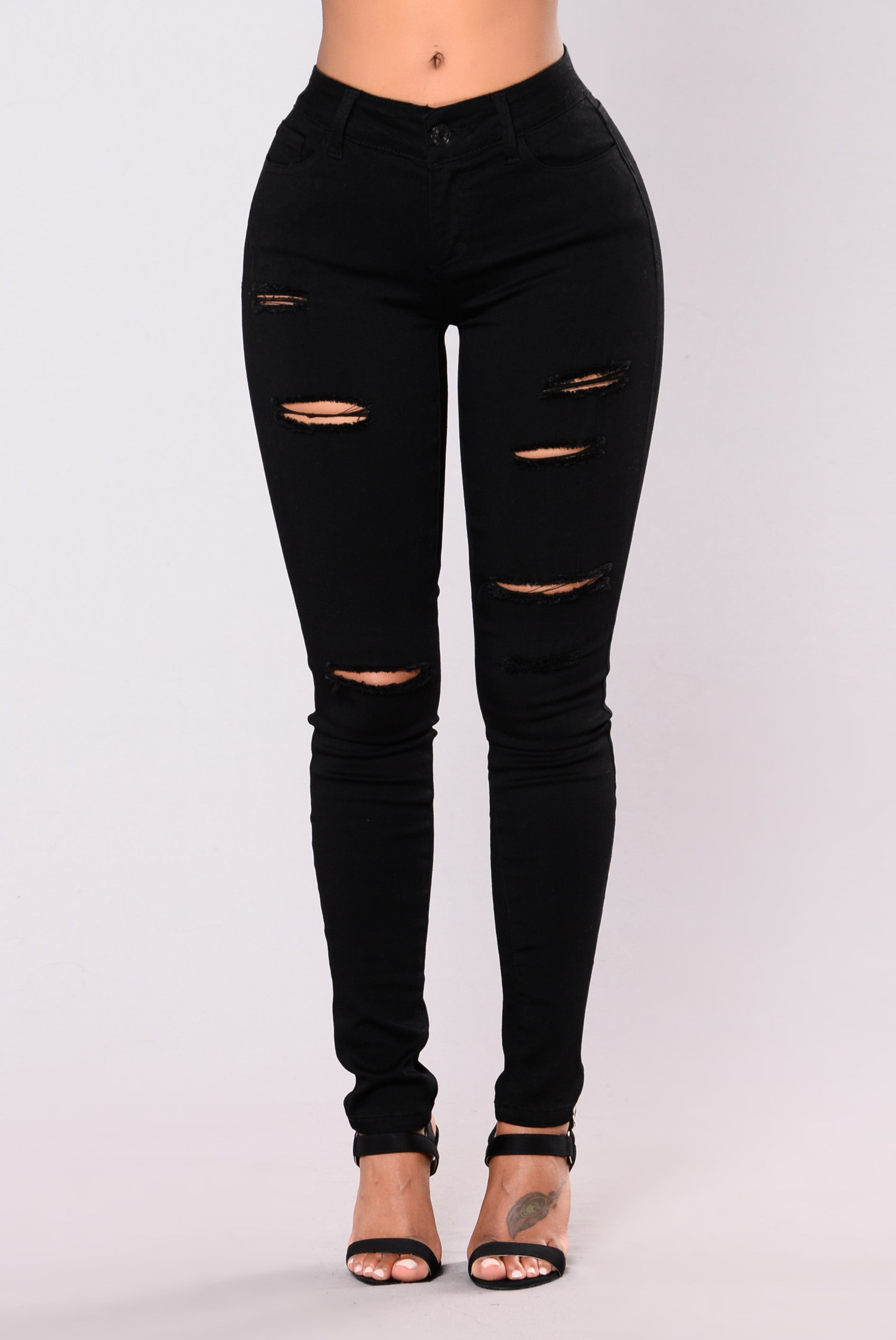 Sassy Distress Jeans , Black