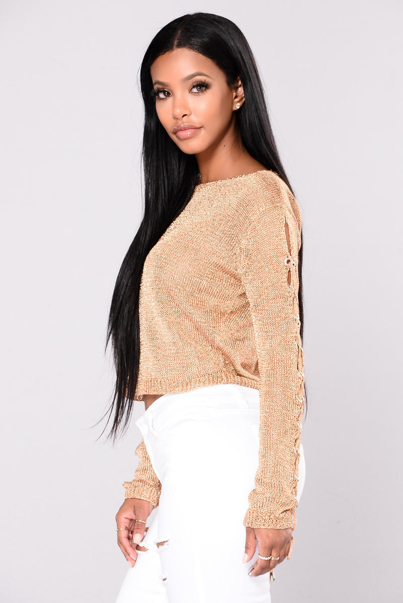 Pandora Metallic Crop Sweater - Rose Gold
