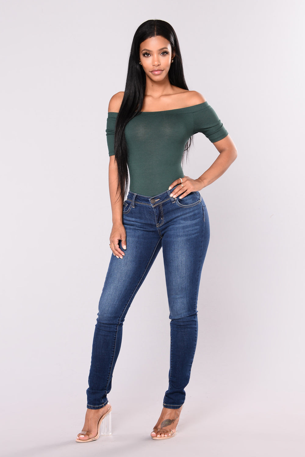 Avery Off Shoulder Bodysuit - Hunter Green