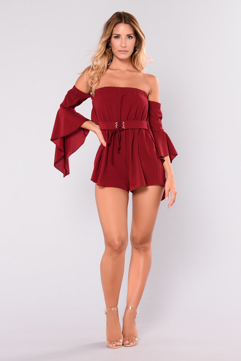 Fabriza Off Shoulder Romper - Wine