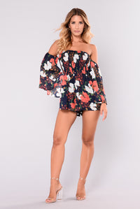 Rosy Cheeks Romper - Navy Floral Angle 2