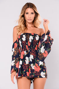 Rosy Cheeks Romper - Navy Floral Angle 1