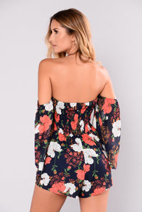 Rosy Cheeks Romper - Navy Floral Angle 4