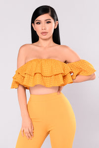 Best Of Me Ruffle Set - Mustard Angle 2