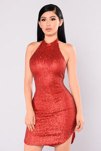 Dancing Away Sequin Dress - Burgundy