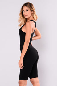Zoey Racer Back Bodysuit - Black