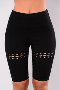 Laila Lace Up Shorts - Black