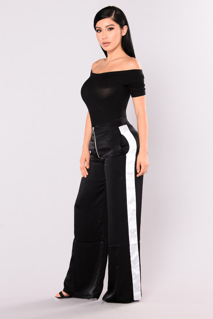 Ambrosia Satin Flare Pants - Black