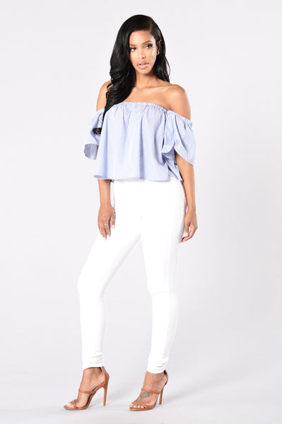 Float Your Boat Top - Blue/White