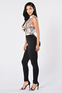 Take the Plunge Jumpsuit - Black Angle 4