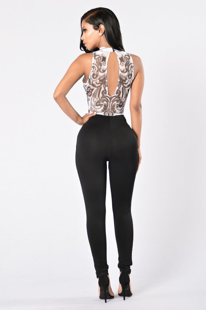 Take the Plunge Jumpsuit - Black