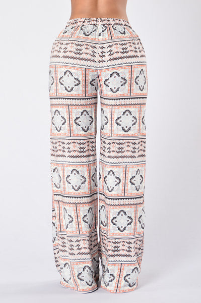 Island Girl Pants - Block Paisley Coral