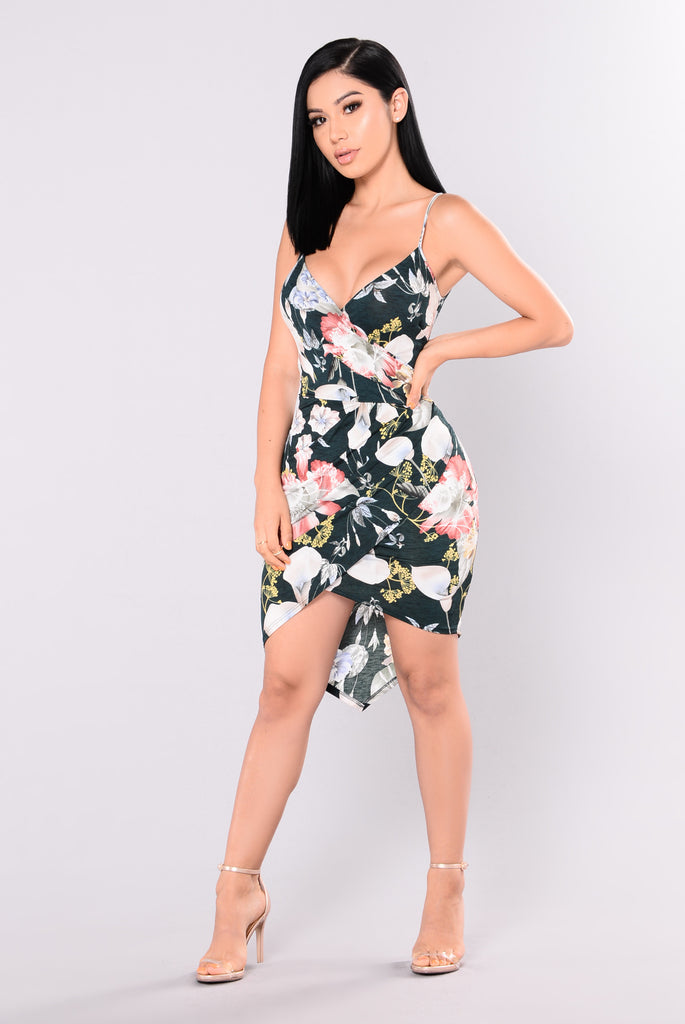 Wild Chance Floral Dress - Green