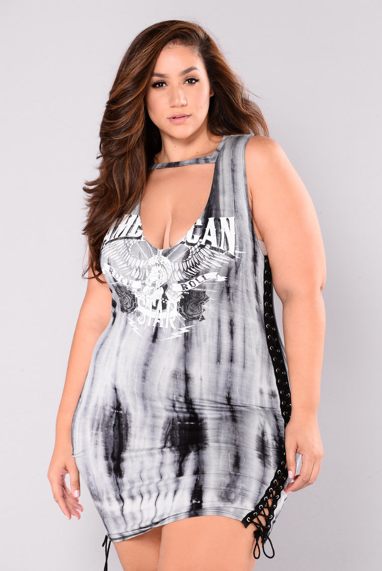 American Star Tie Dye Dress - Blue