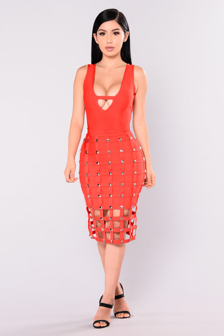 Stuntin Is A Habit Studded Dress - Red