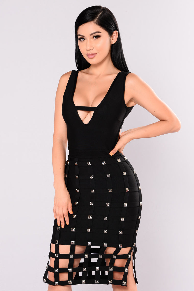 Stuntin Is A Habit Studded Dress - Black
