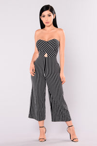 Sofie Striped Culotte Jumpsuit - Black/White