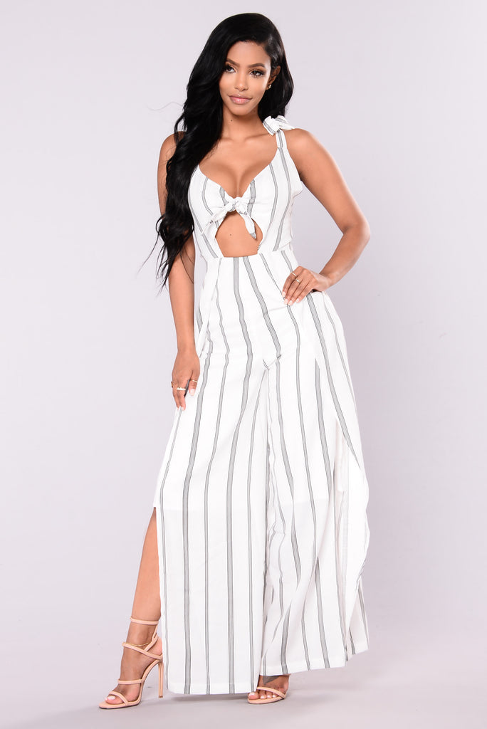 I'm On A Boat Striped Jumpsuit - Ivory/Black