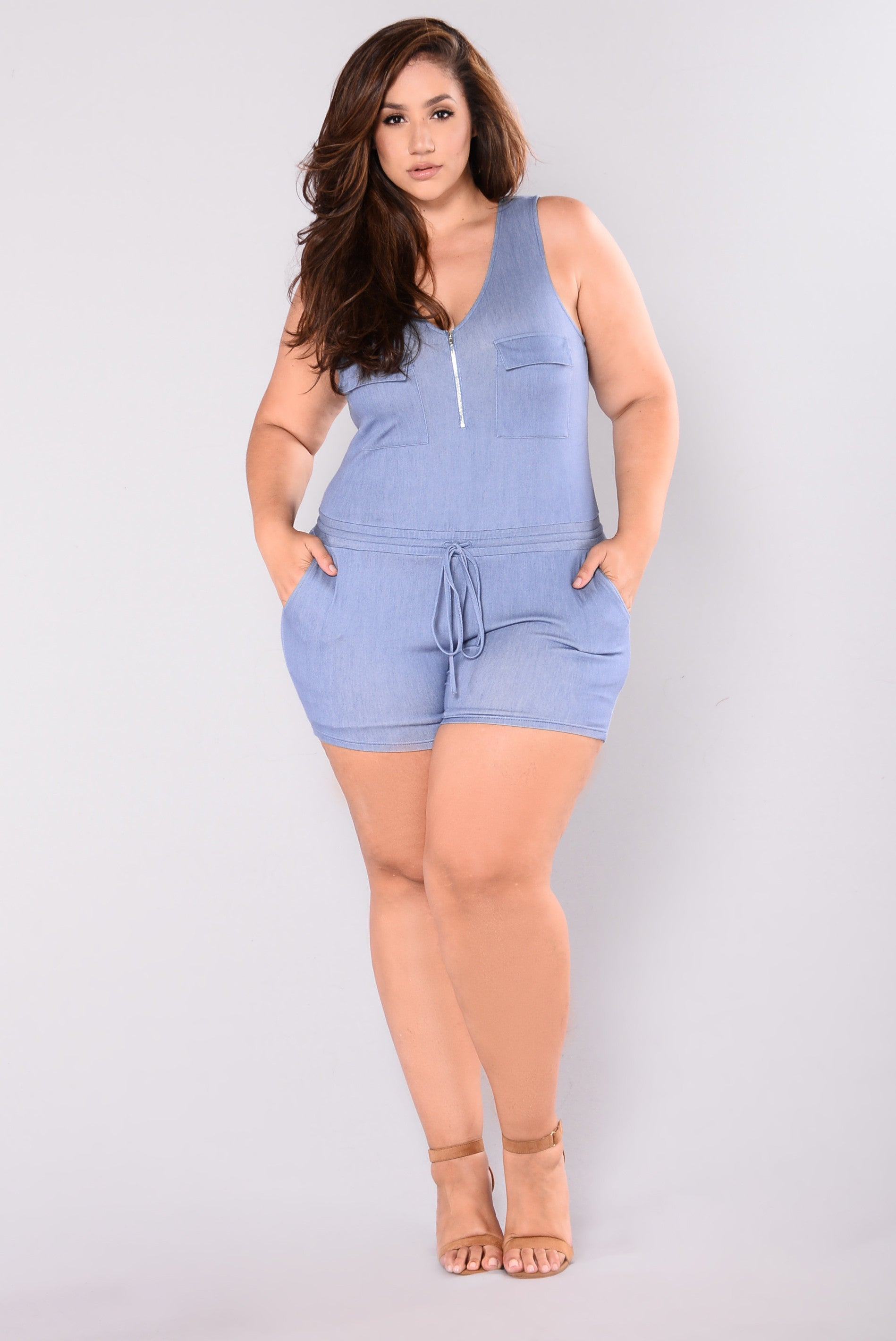 Every Step Romper - Denim Blue