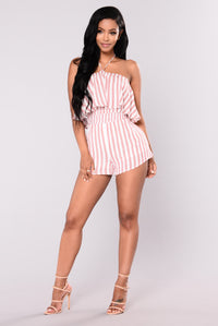 Sparks Striped Romper - Red/Ivory
