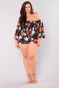 Rosy Cheeks Romper - Navy Floral Angle 7