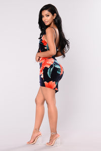 Swept Under Velvet Floral Dress - Navy