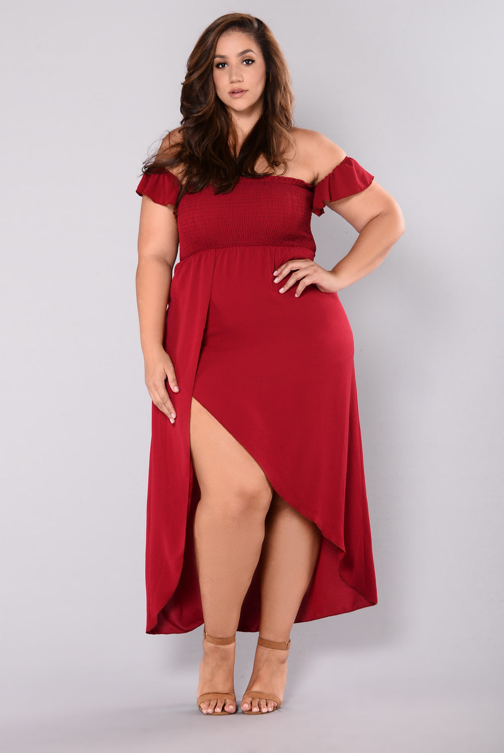 Flutter Heart Off Shoulder Dress - Burgundy