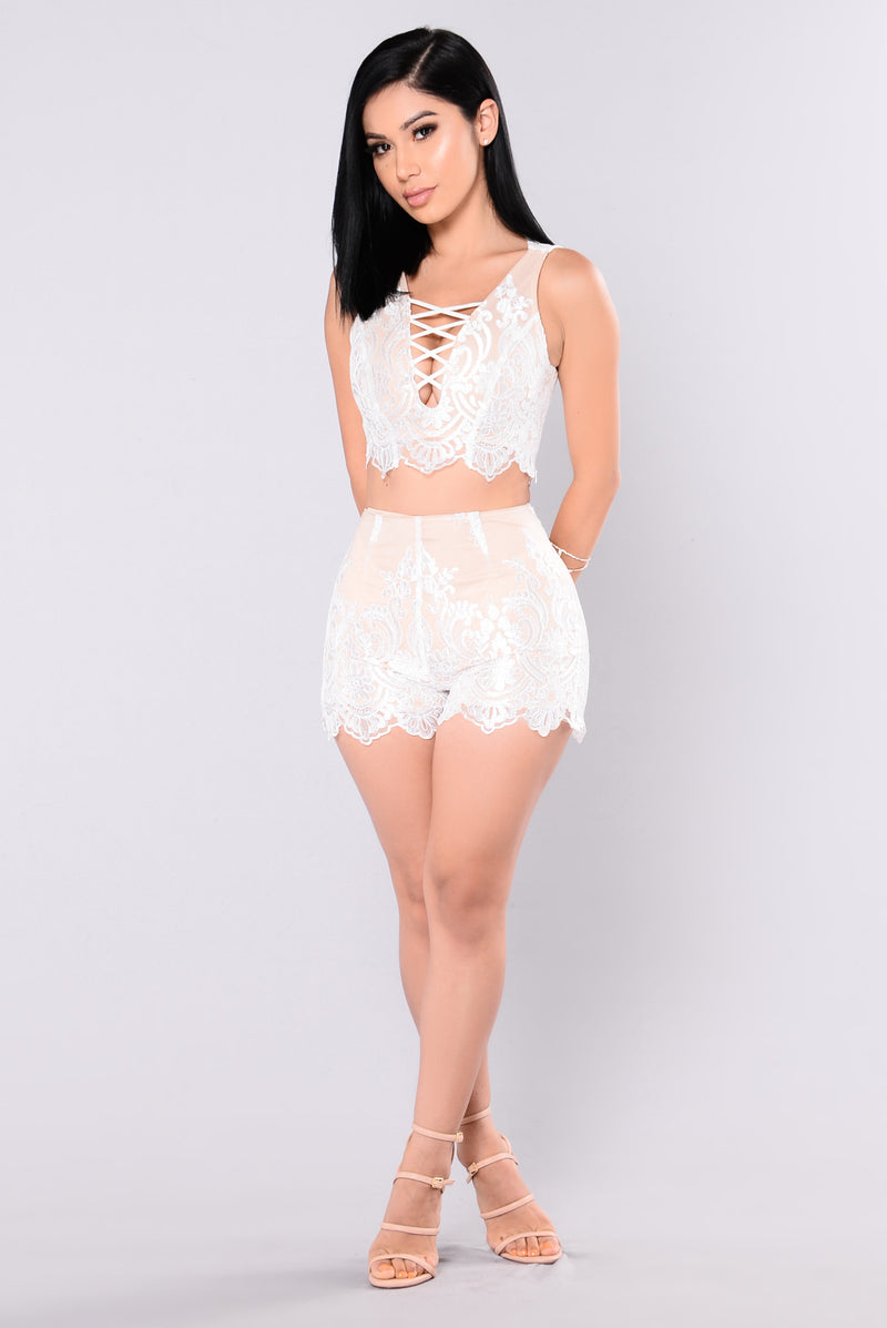 Across The Universe Lace Set - White/Nude
