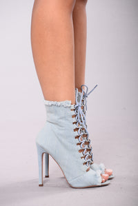 Emelia Lace Up Bootie - Light Blue