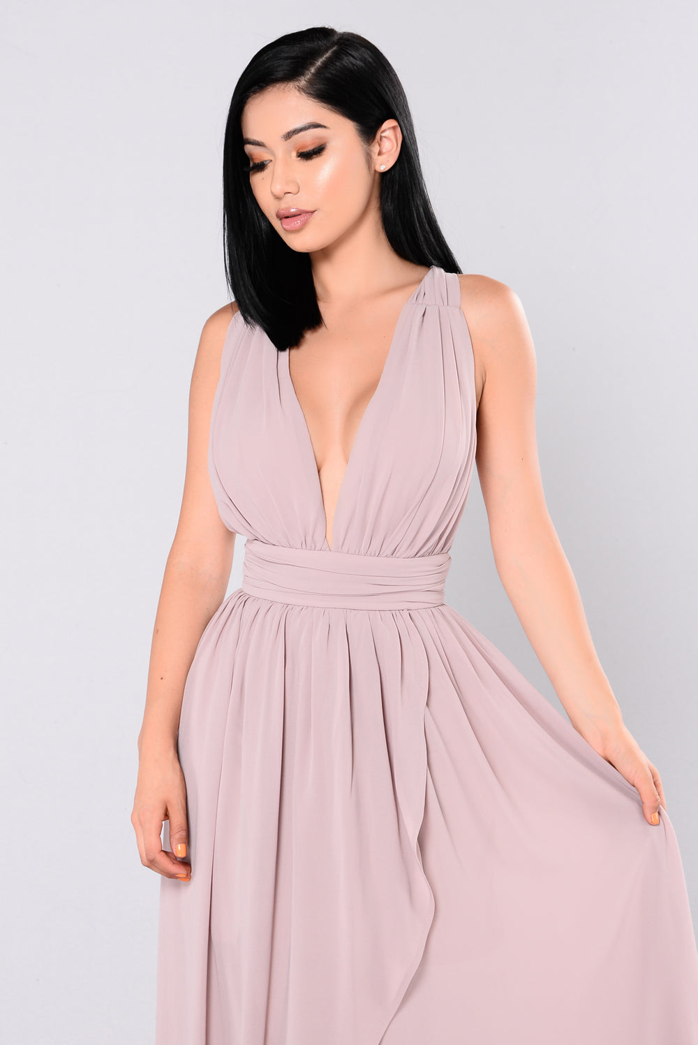 Charm High Low Dress - Taupe