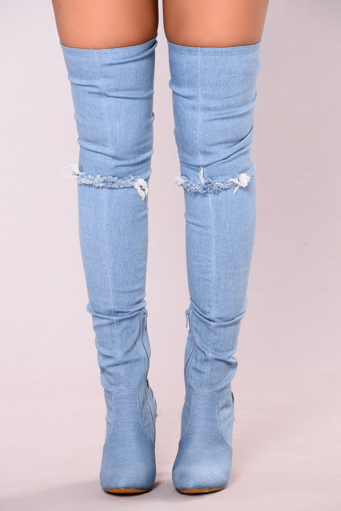 Chloe Corset Heel Boot - Denim