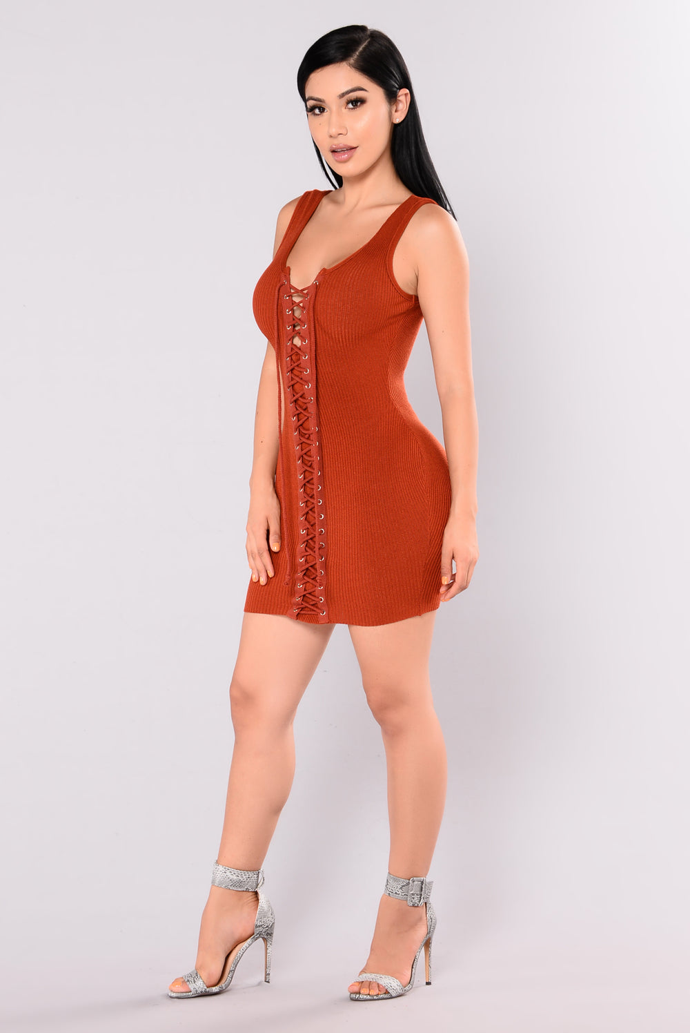 Amberly Lace Up Dress - Rust