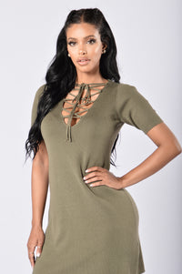 Too Often Dress - Olive Angle 1