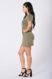 Too Often Dress - Olive Angle 6