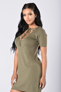 Too Often Dress - Olive Angle 3