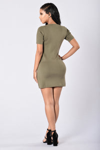 Too Often Dress - Olive Angle 5