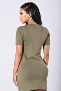 Too Often Dress - Olive Angle 2